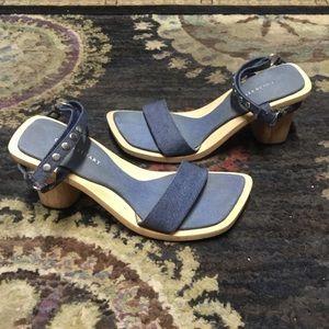 Colin Stuart Wood Heels 11 blue sandals studs